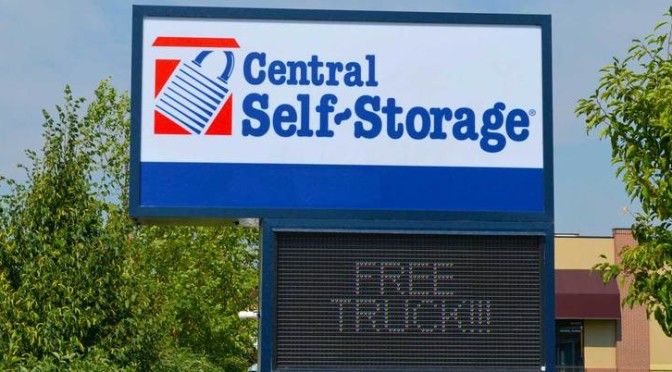 Stand alone signage for a Central Self Storage facility with a free truck promotion