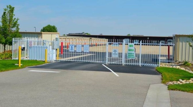 Outside secure gate entrance to outdoor storage units