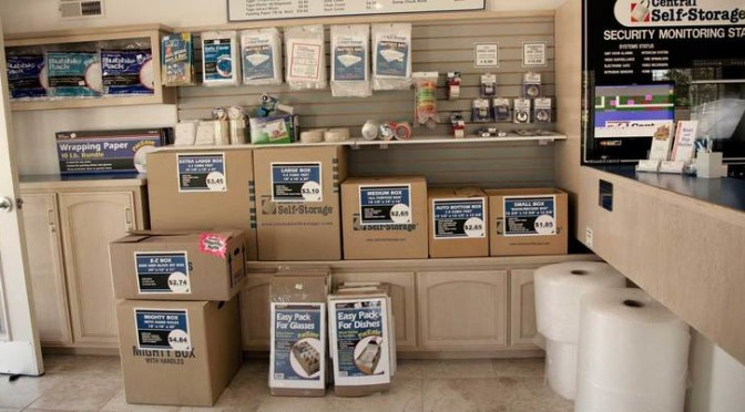 Central Self Storage office with various moving boxes for sale and other packaging products