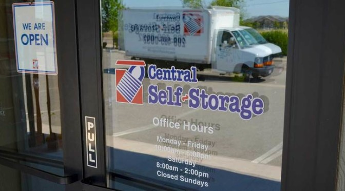 Front door entrance to Central Self Storage office