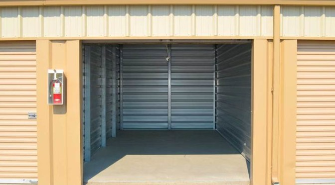 A view inside an outdoor storage unit that is clean and empty
