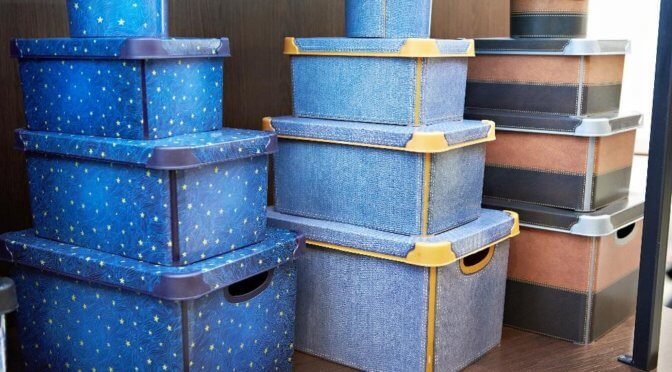Colorful organizational boxes stacked on top of each other